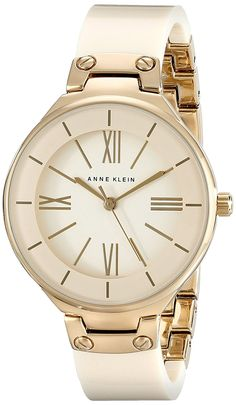 Anne Klein Women's AK/1958IVGB Gold-Tone and Ivory Resin Bangle Watch -- Read more reviews of the product by visiting the link on the image.