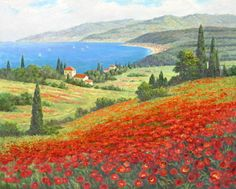 "Oil Painting ""Seaside Poppy Fields in Tuscany"" 24 x 30 
