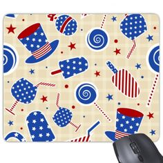USA America Hat Candy Ice Cream Star Festival Illustration Pattern Rectangle Non-Slip Rubber Mousepad Game Mouse Pad #America #Hat #Candy #IceCream #star #USA