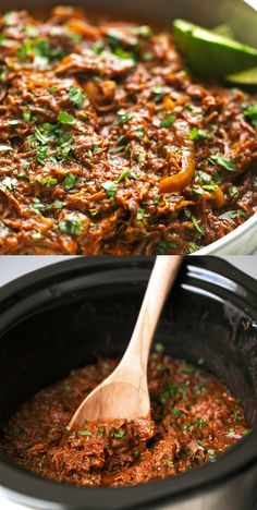 Ropa Vieja is a Cuban dish made from shredded beef and braised with onion, garlic and spices for a dish you won't forget! This recipe can also be made entirely in your slow cooker. What more could you (Paleo Slow Cooker Barbacoa) Ropa Vieja Slow Cooker, Slow Cooker Barbacoa, Crock Pot Slow Cooker, Slow Cooker Recipes, Crockpot Recipes, Cooking Recipes, Cuban Dishes, Potted Beef Recipe, Shredded Beef