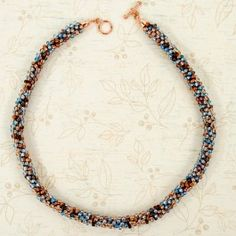 Beader's Paradise Blue and Copper Beaded Kumihimo Necklace