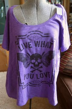 Womens Lane Bryant T Shirt Plus Size 22/24 Purple Skull Emo Scene NWT