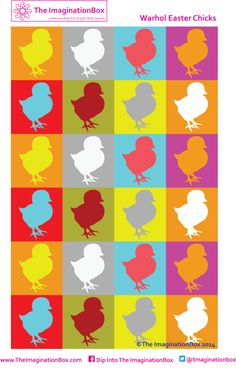 Warhol Easter Chicks, includes an empty template Middle School Art Projects, Craft Projects For Kids, Easter Activities, Craft Activities For Kids, Easter Templates, Easter Arts And Crafts, Free Artwork, Colouring Sheets, Free Downloads