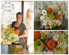 Orit Hertz - Floral Designer www.oh-flowers.com Hand Tied Bouquet, Floral Design, Floral Wreath, Wreaths, Table Decorations, Bouquets, Hands, Flowers, Home Decor