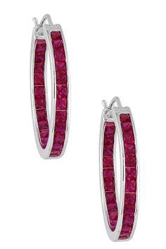 Sterling Silver Created Red Ruby Hoop Earrings