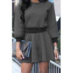 USD13.49Grey Cotton Blend Skirt Solid O neck Long Sleeve Casual Two-piece Outfits