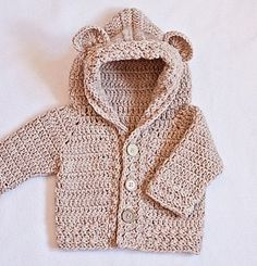 Crochet Cardigan PATTERN (pdf file) - Bear Hooded Cardigan(sizes baby up to Pull Crochet, Crochet Bear, Crochet For Kids, Crochet Dolls, Free Crochet, Cardigan Bebe, Crochet Cardigan Pattern, Hooded Cardigan, Lace Cardigan