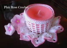 PINK ROSE CROCHET : Porta-Velas Bicos Branco e Pink