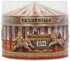 Churchill's Confectionery Collectible Carousel Tin with D...
