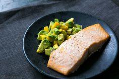 Baked Salmon with Avocado Mango Salsa ~ Oven-baked salmon fillets served with avocado, mango, chile, lime salsa. ~ SimplyRecipes.com