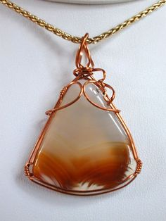 Agate Wire Wrapped Jewelry Pendant E1954r. $60.00, via Etsy.
