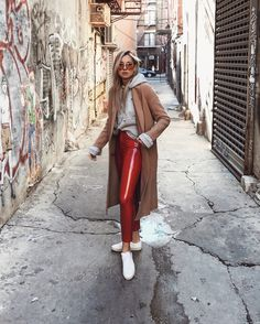Winter Throwbacks ❄️ although it wasn't nearly as cold last year. here's some outfit inspo since I'm still sick in bed Which look is your fav? Red Leather Pants, Red Pants, Mode Instagram, Instagram Fashion, Vinyl Pants, Leder Outfits, 21st Dresses, Valentine's Day Outfit, Street Style