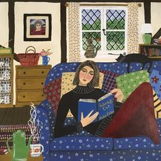 """Green Pebble on Instagram: """"'A Good Read' by #painter Marcella Cooper @marcellacooper_fineart Blank Art cards Published by Green Pebble Available Online:…"""" Reading Art, Girl Reading, Square Card, Naive Art, Book Images, Illustrations And Posters, Oeuvre D'art, Printmaking, Book Art"""