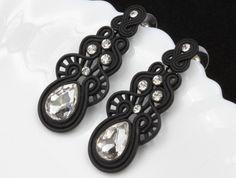 Wedding bride clear crystal teardrop rhinestone black plated stud earrings R09 in Jewelry & Watches, Fashion Jewelry, Earrings | eBay
