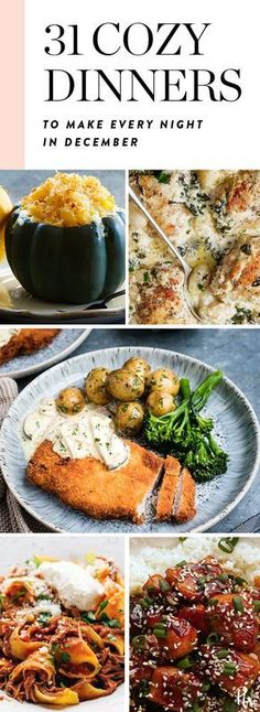 Here are 31 warm and cozy dinners to make every night in December. #easydinnerrecipes #weeknightdinners #decemberdinners #weeknightmeals #easyrecipes