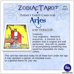 Daily tarot card for Aries from ZodiacTarot! Do you read your own tarot cards?  Read them for free online right now! Visit iFate.com today! And for all today's ZodiacTarot cards, check out ZodiacTarot.com !