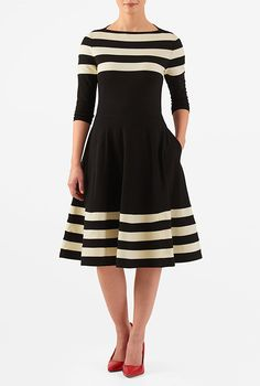 Banded stripe cotton knit fit-and-flare dress #eShakti