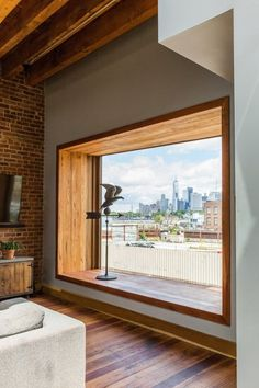 Brooklyn Upside Down with Views Modern Home in New York by arDesign /…,Modern home with Windows, Picture Window Type, and Wood. Bay window is angled to capture Manhattan skyline views Photo 6 of Brooklyn Upside Down with . Home Interior Design, Interior And Exterior, Window Types, Modern Windows, Modern Window Seat, Window Design, Home Decor Bedroom, My Dream Home, Future House