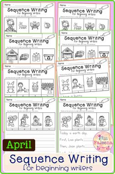 April Sequence Writing contains 30 pages of narrative prompts worksheets. This product is suitable for kindergarten and first grade students. These pages can be used for morning work, literacy centers, and writing centers. Kindergarten | Kindergarten Worksheets | First Grade | First Grade Worksheets | Winter Sequence Writing Prompts | Spring Sequence Writing Prompts | Writing Prompts Worksheets Writing Centers, Writing Skills, Literacy Centers, Writing Prompts, First Grade Worksheets, Kindergarten Worksheets, Write Your Own Story, Sentence Starters, Morning Work
