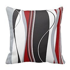 This is one of my favorite red throw pillows. I like how this pillow incorporates white, black and grey so the really stands out. DKISEE Wavy Vertical Stripes Red Black White and Grey Throw Pillow Cover Grey And Red Living Room, Living Room Colors, New Living Room, Black White Curtains, Red Curtains, Grey Pillow Covers, Grey Throw Pillows, Cushion Covers, Fur Pillow