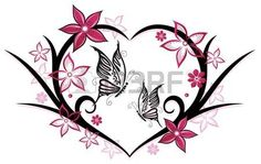 Heart with butterflies and flowers, pink photo