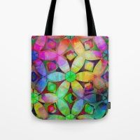 Rainbow Abstract Flowers Tote Bag