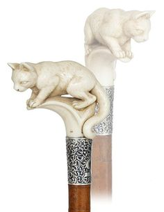 3. Ivory Cat Cane-Ca. 1880-Large Ivory Handle And Its W : Lot 3