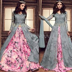 pink and grey Colour combo Indian Gowns Dresses, Pakistani Dresses, Party Wear Indian Dresses, Indian Attire, Indian Outfits, Desi Clothes, Bollywood Fashion, Bollywood Saree, Indian Designer Wear