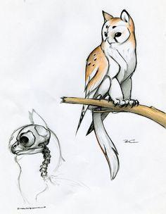 Owl Griffin skull anatomy by RobtheDoodler.deviantart.com on @deviantART