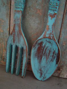 Custom Color Choice Spoon Fork Wooden Wall by turquoiserollerset, $32.00