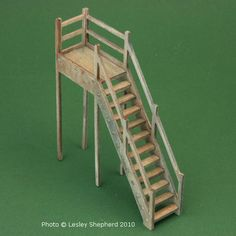 Building the Markland Market Hall From a Kit By Small Scale Miniatures: Finished Stairs Balance Easily