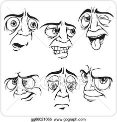 Facial expression Illustrations and Clipart. Facial expression royalty free illustrations, and drawings available to search from thousands of stock vector EPS clip art graphic designers. Cartoon Faces Expressions, Cartoon Expression, Drawing Expressions, Facial Expressions, Human Face Drawing, Drawing Cartoon Faces, Cartoon Art, Drawing Hair, Gesture Drawing