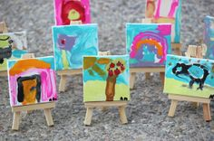 mini canvas masterpiece on easels
