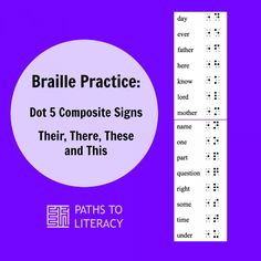 Braille lessons to practice reading and writing Dot 5 Composite Signs in UEB (Unified English Braille) Teaching Career, Teaching Tools, Prek Literacy, Early Literacy, Braille Reader, Braille Alphabet, We Are Teachers, Visual Impairment, New Students