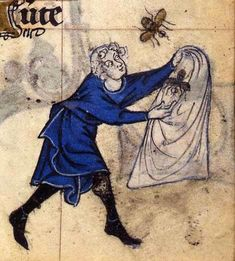 Man Catching Bees - 14th C. Book of Hours.  Covered in BEES!