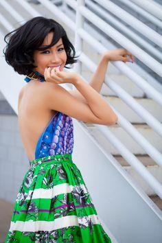 Wearing: Hermes scarf as top, Erdem green skirt  vintage gold necklace