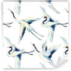 Vinyltapet Akvarell asiatisk kran fågel seamless