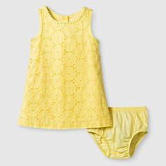 Baby Girls' Eyelet Dress - Yellow - Genuine Kids from Oshkosh, Infant Girl's