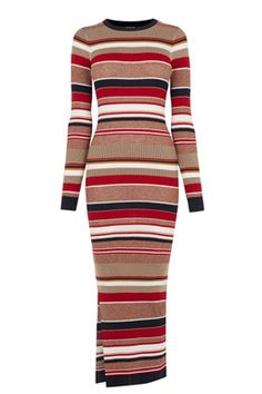 This long striped dress is constructed from a ribbed knit with stretch and features a round neck, full length sleeve, slits on the side and a bodycon cut. Height of model shown: 5ft 10 inches/178cm. Model wears: UK size 10.Fabric:Main: 60.0% Viscose