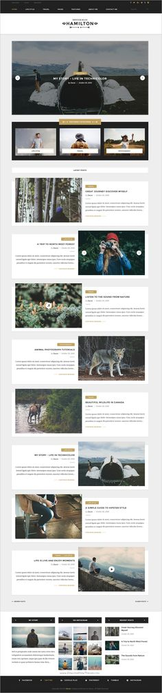 Hamilton is a Hipster #Photoshop #Template for your #magazine or personal blog: Travel, Life Style, and Storytelling websites with 9 homepages and 23 PSD pages download now➩ https://themeforest.net/item/hamilton-hipster-blog-psd-template/19219118?ref=Datasata