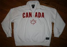 TEAM CANADA white Half-zip ROOTS Sweatshirt Pullover-Adult LARGE-running-olympic