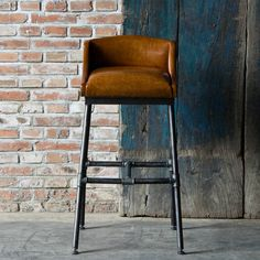 BAR STOOL WITH UPHOLSTERED LEATHER LOW CAMEL BACK SEAT OVER INDUSTRIAL PIPE LEGS AND H STRETCHER *H930 L520 D560*