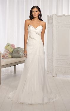 Cheap dress diamante, Buy Quality dress model for girl directly from China dresses for chubby girls Suppliers: Vestido De Noiva Beaded A-line Chiffon Sweetheart Beach Wedding Dress 2015 Under 100 Cheap Bride Dresses Corset Wedding Gown
