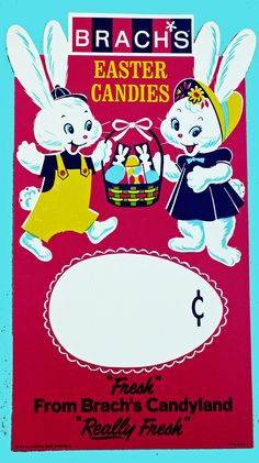 Vintage Brach's Easter Candy display board-- so cute! Easter Candy, Hoppy Easter, Easter Art, Easter Ideas, Vintage Easter, Vintage Holiday, Candy Labels, Candy Display, Chocolate Bunny