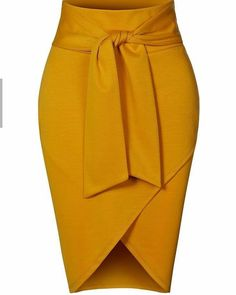 Asymmetrical High Waisted Self Tie Casual Formal Pencil Midi Skirt - Outfits Women Short African Dresses, Latest African Fashion Dresses, African Print Fashion, Ankara Fashion, Africa Fashion, African Prints, African Fabric, Short Dresses, Classy Dress