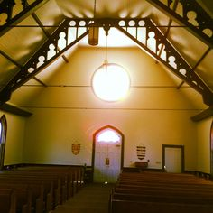 Inside Blountsville Methodist Church in the late afternoon as the sun catches the stained glass windows perfectly. I get to see this view every Sunday morning from the choir loft.