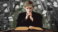Kňaz ktorý číta knihu a za ním je vojsko Fictional Characters, Art, Craft Art, Kunst, Fantasy Characters, Art Education, Sanat