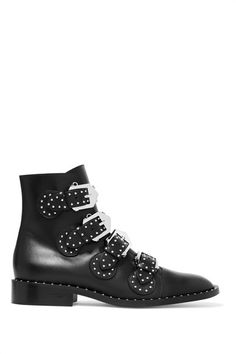 Heel measures approximately 25mm/ 1 inch Black leather Silver stud embellishments, almond toe Buckle-fastening straps Made in Italy