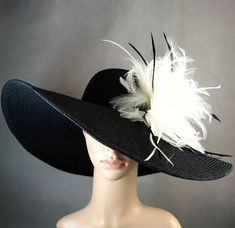 Derby Hat Kentucky Derby Hat Dress Hat Church Hat BLACK Hat Wide Brim Wedding Tea Party Ascot Horse Race on Etsy, $59.97