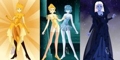 Yellow Diamond and Pearl, Blue Diamond and Pearl by OpalKnights